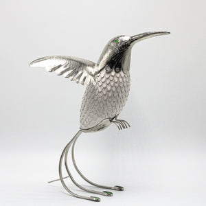 Ceramic and Nickel White Hummingbird  sculpture