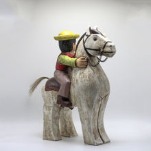 "Load image into Gallery viewer, Wood ""Montubio"" and horse."