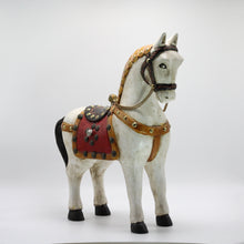 Load image into Gallery viewer, Wood White horse red Saddle.