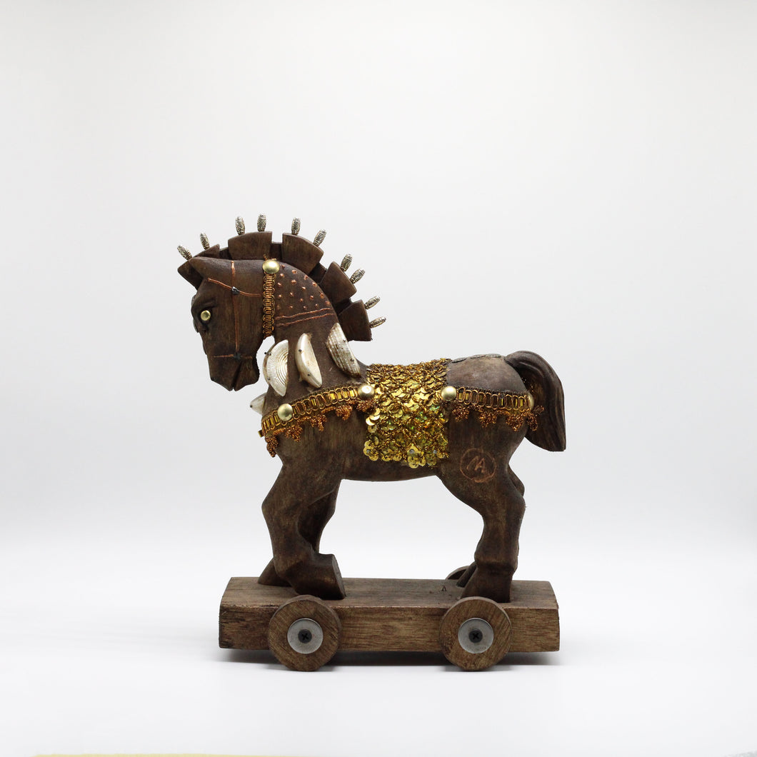 Wood Brown and Gold horse.
