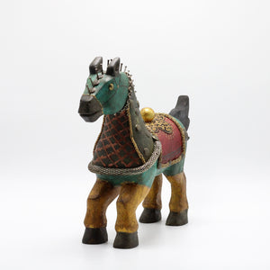 Wood Turquoise, Red and Yellow horse.