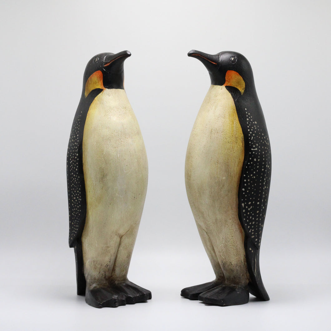 Wood Penguins Couple.