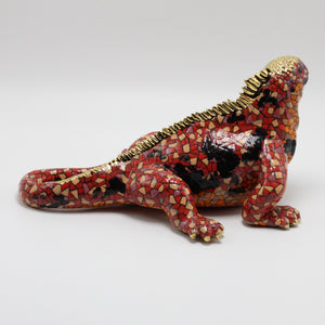 Red and Gold Ceramic Iguana sculpture.