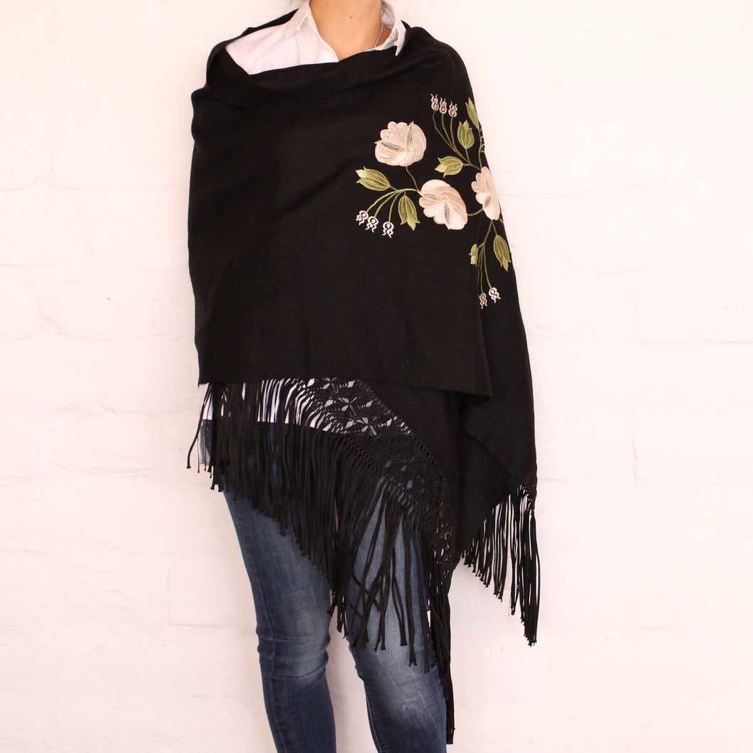 Black Shawl White Flowers