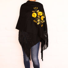 Load image into Gallery viewer, Black Shawl Yellow flowers