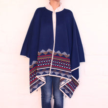 Load image into Gallery viewer, Blue Cape-Poncho geometric