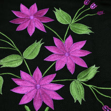 Load image into Gallery viewer, Black Shawl Fuchsia flowers