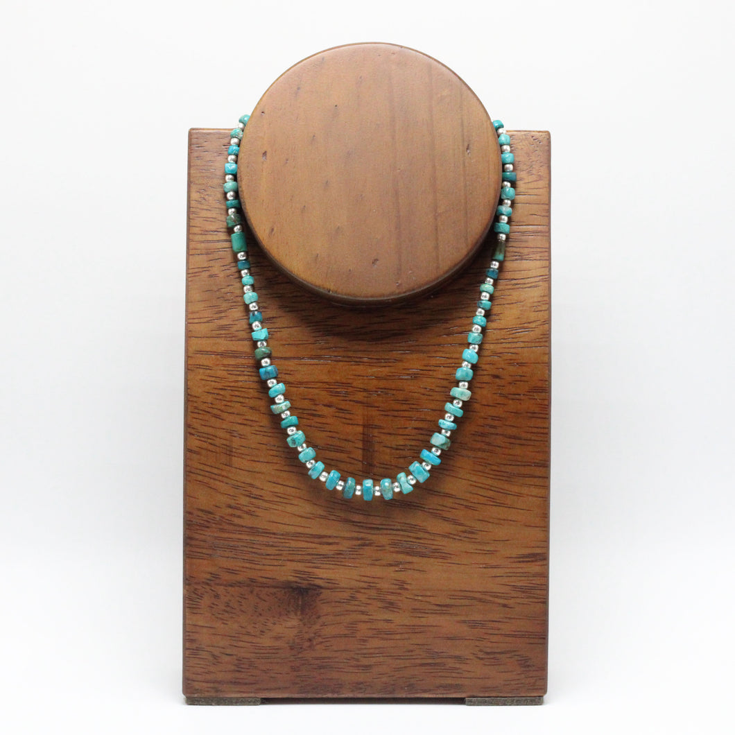 Silver and Andean Turquoise  Necklace 22