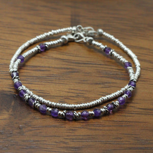 Silver and Amethyst 2 Bracelets  set 10