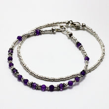 Load image into Gallery viewer, Silver and Amethyst 2 Bracelets  set 10