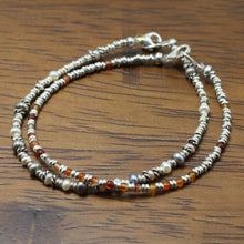 Load image into Gallery viewer, Silver, Amber and River Pearls 2 Bracelets set 13