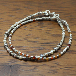 Silver, Amber and River Pearls 2 Bracelets set 13
