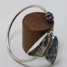Load image into Gallery viewer, Silver, Abalone Shell and Amethyst Bracelet 29