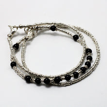 Load image into Gallery viewer, Silver and Onyx 3 Bracelets set 5