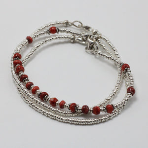 Silver and Spundylus Shell 3 Bracelets set 6