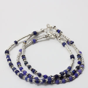 Silver and Sodalite 3 Bracelets  set 7