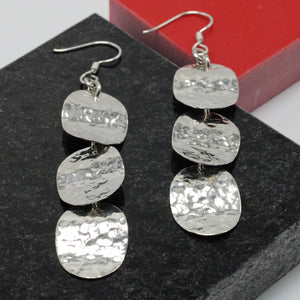 Hammered Silver 3 Ovals Earrings 3
