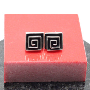 Squared Spiral Silver Earrings 4