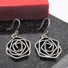Load image into Gallery viewer, Burned Spiral Silver Earring 5