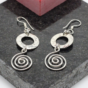 Spiral Hammered Silver Earrings 17