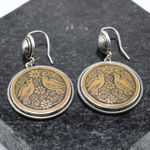 Carved Wood Silver Earrings 23