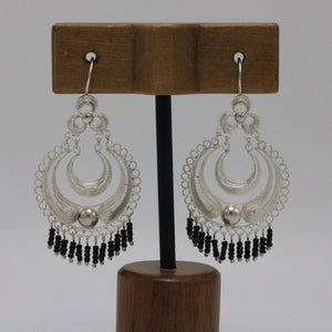 Onix and Silver Filigree Earrings 28
