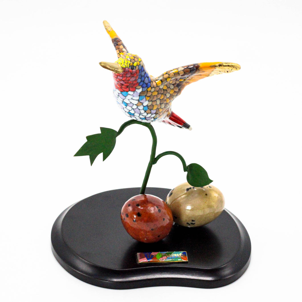 Hummingbirds on Wood Base 4