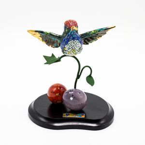 Hummingbirds on Wood Base 3