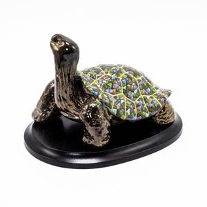Ceramic Tortoise on Wood Base