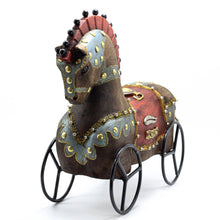 Load image into Gallery viewer, Wood Brown Horse on Wheels