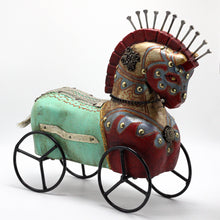 Load image into Gallery viewer, Wood Turquoise Horse on Wheels
