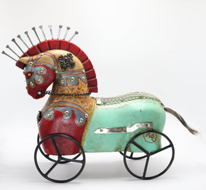 Wood Turquoise Horse on Wheels