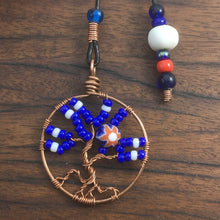 Load image into Gallery viewer, A copper wire tree of life bookmark with red, white and blue beads.