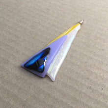 Load image into Gallery viewer, A yellow, white and lilac fused-glass pendant with dichroic features.