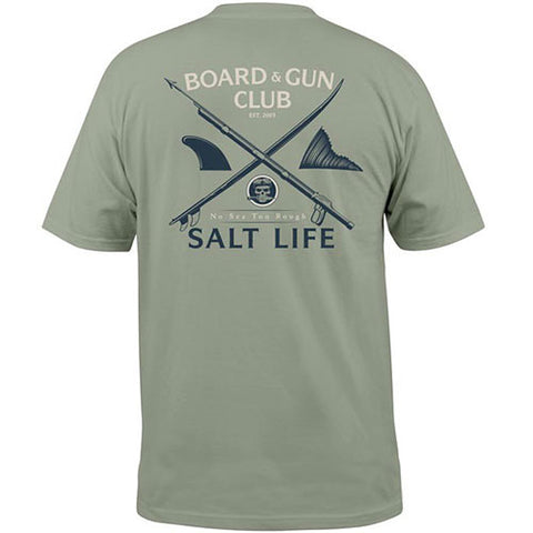Salt Life Board and Guns Pocket Tee.  Olive