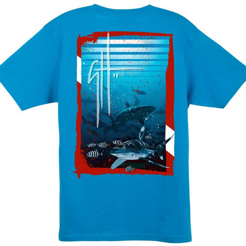Guy Harvey Shark Dive Turquoise T-Shirt
