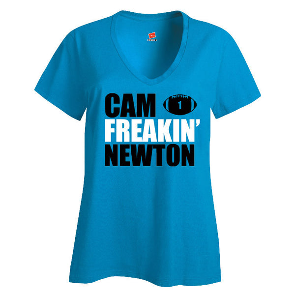 Cam Freakin' Newton Panthers Ladies V-neck T-shirt Sports Clothing