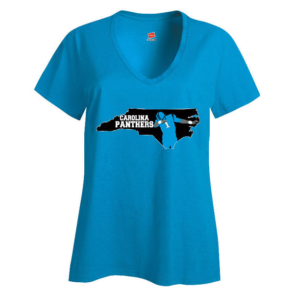 Map Cam Carolina Panthers Ladies V-neck T-shirt Sports Clothing