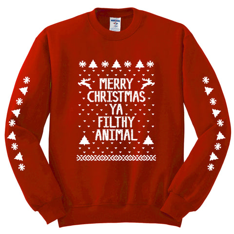 Merry Christmas Ya Filthy Animal Unisex Crewneck Sweatshirt