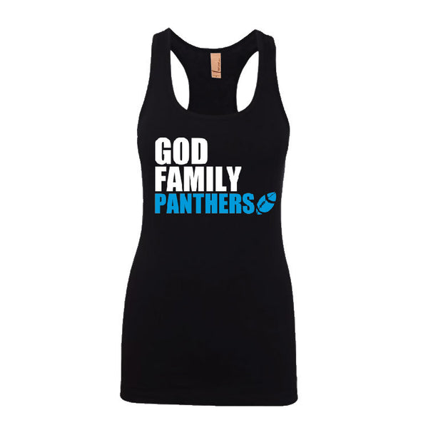 God, Family, Panthers Ladies Jersey Racerback Tank Top Sports Clothing