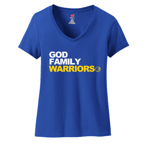 God, Family, Warriors Ladies V-neck T-shirt Sports Clothing