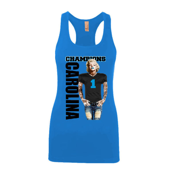 Marilyn Monroe Champions Panthers Ladies Jersey Racerback Tank Top Sports Clothing