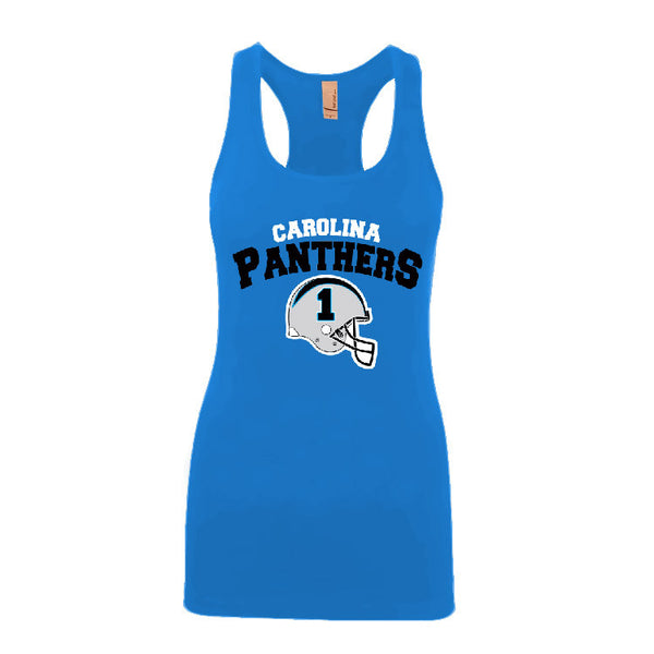 Carolina Panthers Helmet Ladies Jersey Racerback Tank Top Sports Clothing