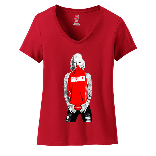 Copy of Marilyn Monroe NY Giants Ladies V-neck T-shirt Sports Clothing