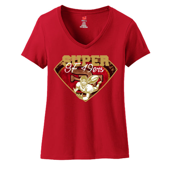 Super 49ers Ladies V-neck T-shirt Sports Clothing