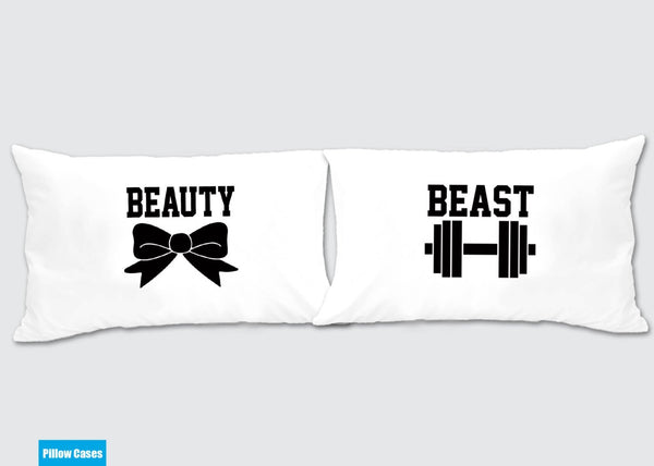 Beauty and Beast Matching Pillow Cases - Awesome Gift for cute couples - Price is for 2 Pillow cases