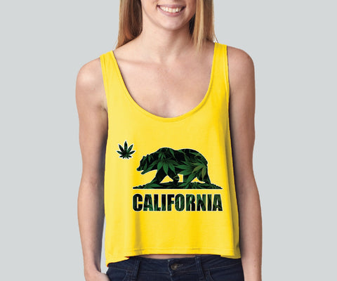 California Bear Weed girly boxy tank top