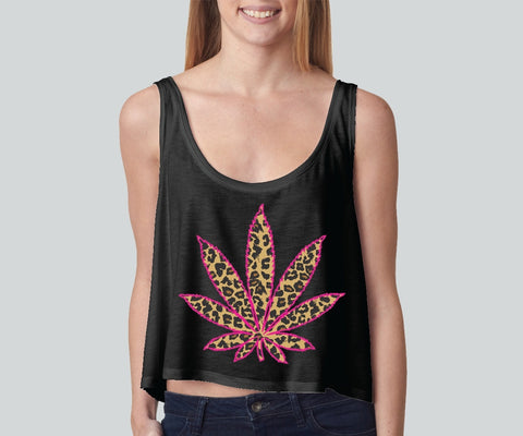 Cheetah Leaf girly boxy tank top Funny and Music