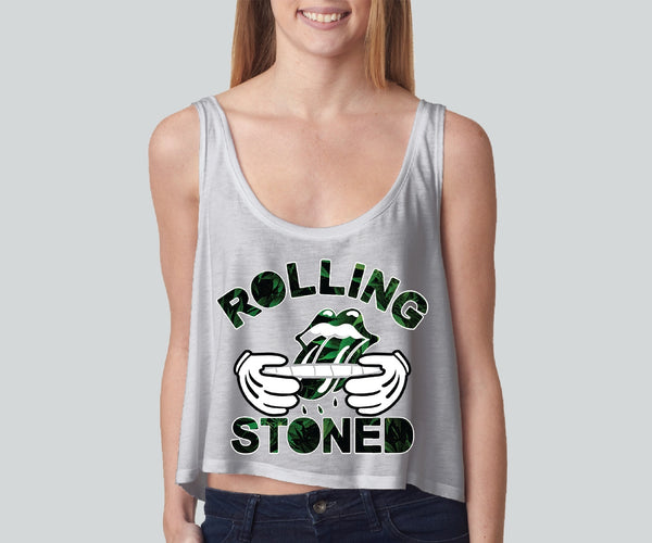 Rolling Stones Leafs girly boxy tank top Funny and Music