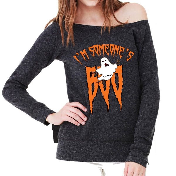 Halloween Sweatshirt - I'm Someone's BOO - Ladies Sponge Fleece Wide Neck Sweatshirt Awesome Gift